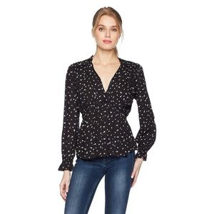 Lucky Brand Ditsy Floral Babydoll Blouse Women's S